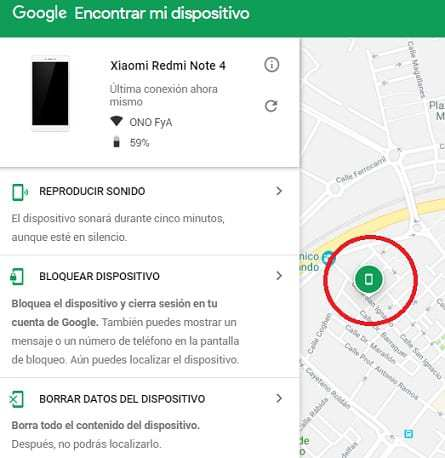 ubicar telefono android perdido