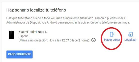 hacer que suene nuestro android perdido